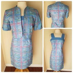 Patchington Vintage Blue Jumper Dress & Shrug